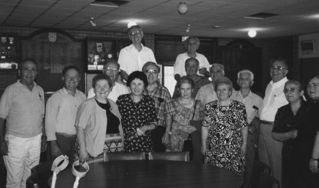 A Group of Chereshnitcheni welcoming the guests from America at the Macedonian Club in Perth, Australia. December 1998.