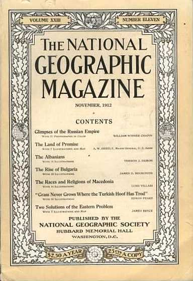 November, 1912 National Geographic Magazine Cover